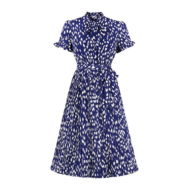 Sexy Navy-blue Bow-knot Tie Collar Short Sleeve Print Slim Waist Belt Midi Dress N20834