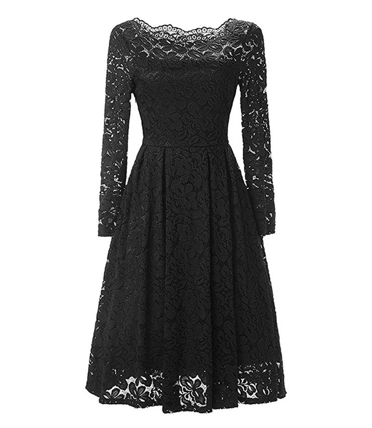 Vintage Off Shoulder Floral Lace Casual Party Dress N14011