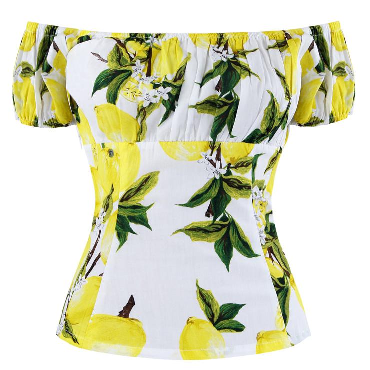 Vintage Off the Shoulder Cape Sleeve Scoop Neck T-shirt N13050