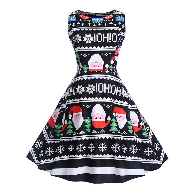 Black Vintage Round Neck Pixel Santa Claus Snowflakes Printed Sleeveless High Waist Swing Dress N18283