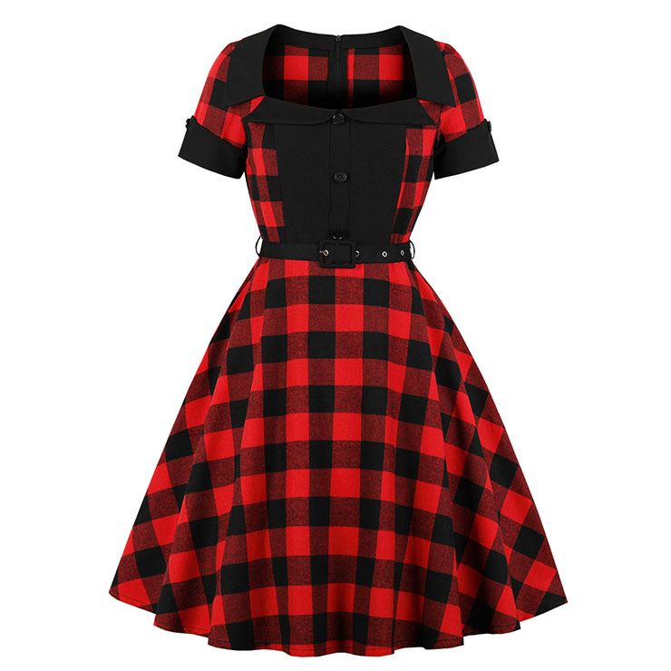 Vintage Red and Black Plaid Pattern Turn Down Collar Short Sleeves High Waist Midi Swing Dress with Belt N18342