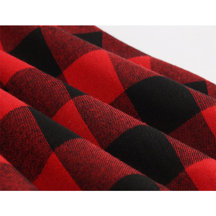 Red and Black Plaid Pattern Dress, Vintage Dresses for Women, Sexy Dresses for Women Cocktail Party, Vintage High Waist Dress, Short Sleeves Swing Daily Dress, Vintage Plaid Printed Swing Dress, #N18342