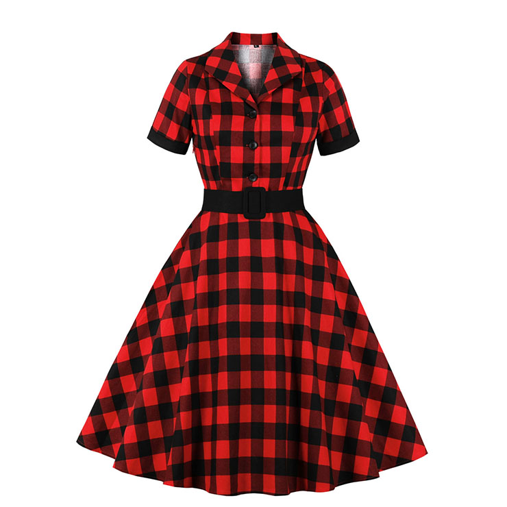 Retro Red and Black Plaid Pattern Lapel Short Sleeves High Waist Swing Dress With Belt N20926