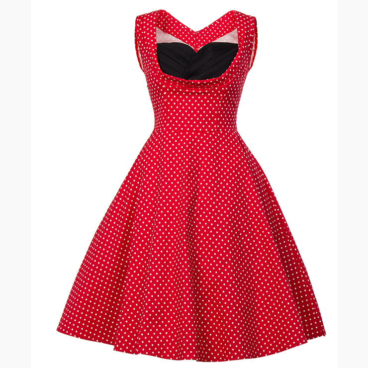 Vintage Red Polka Dot Printed Pleated Sweetheart Neckline Midi Swing Dress N18132