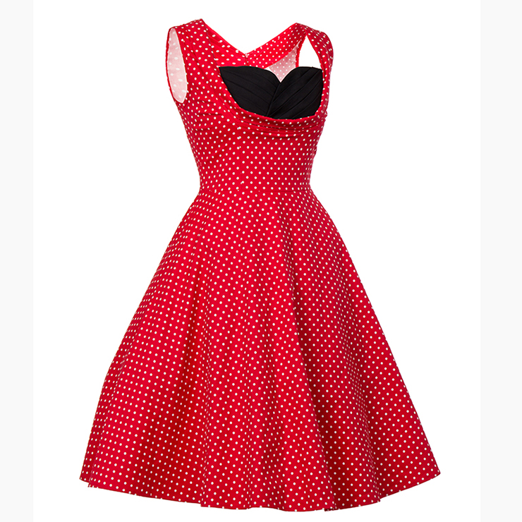 Vintage Dresses for Women, Sexy Dresses for Women Cocktail Party, Vintage High Waist Dress, Sleeveless Swing Daily Dress, Polka Dot Printed Swing Dress, #N18132
