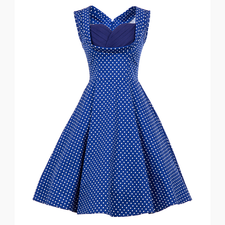 Vintage Blue Polka Dot Printed Pleated Sweetheart Neckline Midi Swing Dress N18133