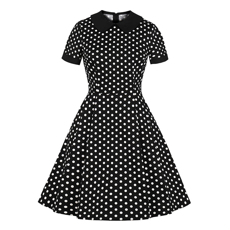 Vintage Black and White Polka Dots Lapel Short Sleeve A-line Swing Dress N18700