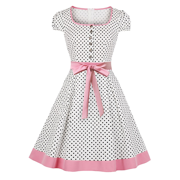Vintage Square Collar Polka Dots Print Bowknot Detail Knee-Length Day Dress N19082