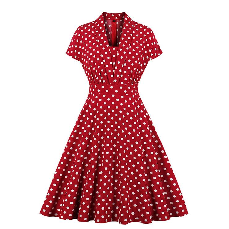 Vintage Red Polka Dots Lapel Short Sleeve Slim Waist A-line Swing Midi Dress N19806