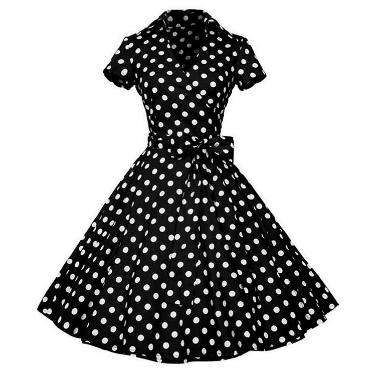 Vintage Polka Dots Print Lapel Short Sleeve High Waist Lace-up A-line Big Swing Midi Dress N20623