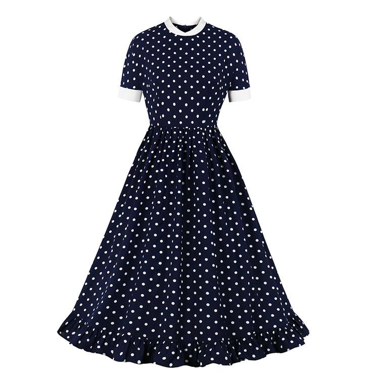 Vintage Polka Dots Print Stand-up Collar Short Sleeve High Waist A-line Swing Ruffle Dress N20980