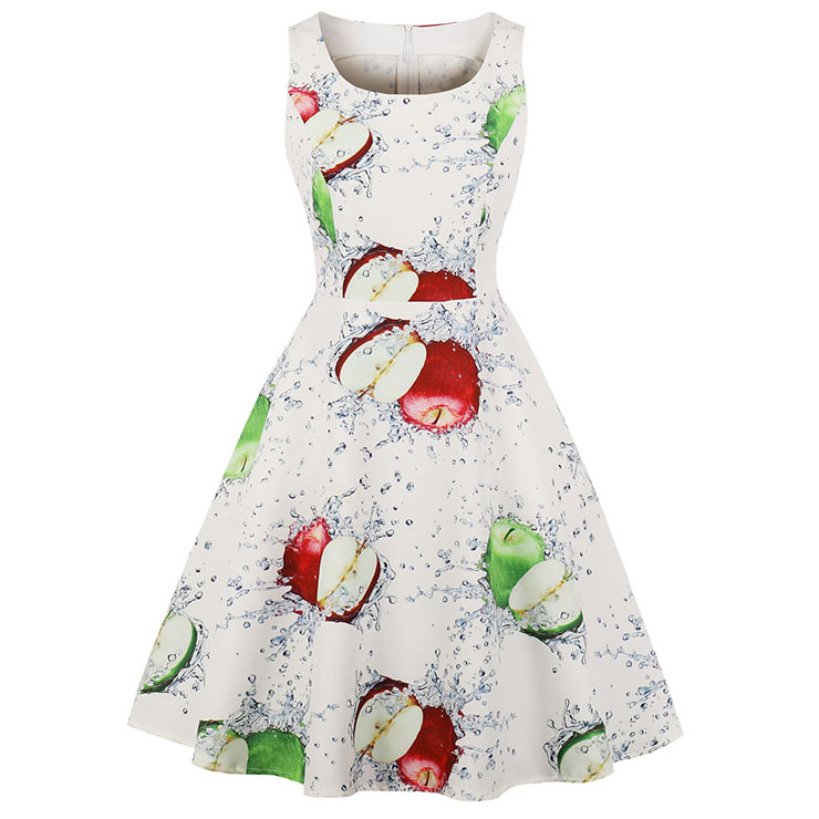 1950\'s Vintage Bateau Neck Apple Water Print Sleeveless Pinup Day ...