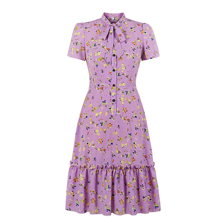 Bow-knot Tie Collar Party Dresses, Cute Summer Swing Dress, Retro Floral Print Dresses for Women 1960, Vintage Dresses 1950