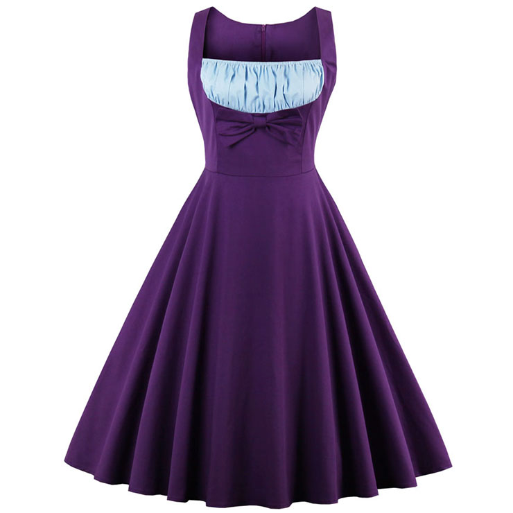 1960's Vintage Purple Cocktail Swing Dress N12799