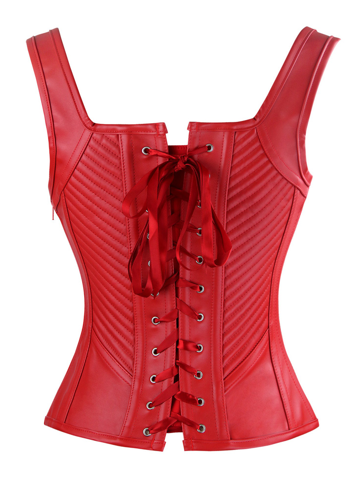 61e1b1bbeb3 Vintage Red Faux Leather Buckles Straps Corset Bustier Christms N10965