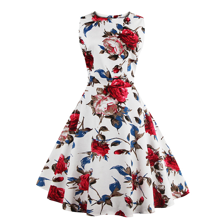 Elegant 1950's Vintage Floral Print Sleeveless Casual Cocktail Party Swing Dress N11519