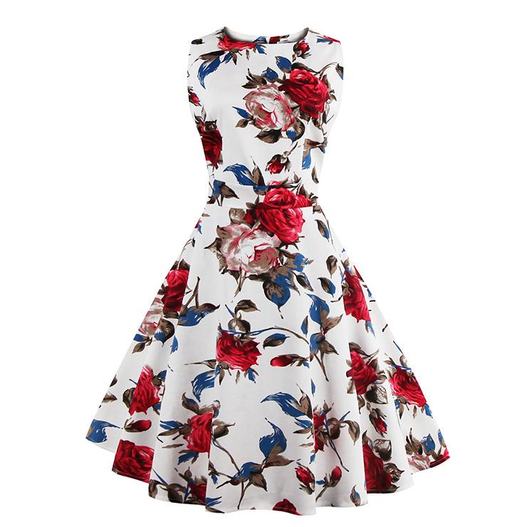 1049b05cf22b Elegant 1950 s Vintage Floral Print Sleeveless Casual Cocktail Party Swing  Dress N11519