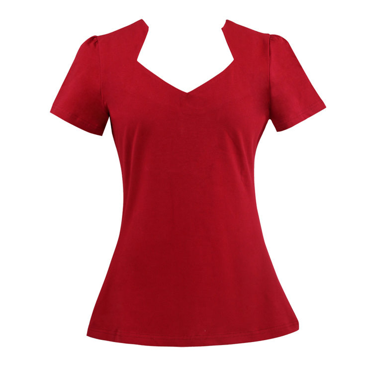 Vintage 1950's Red Cut Out Short Sleeve T-shirt N11855