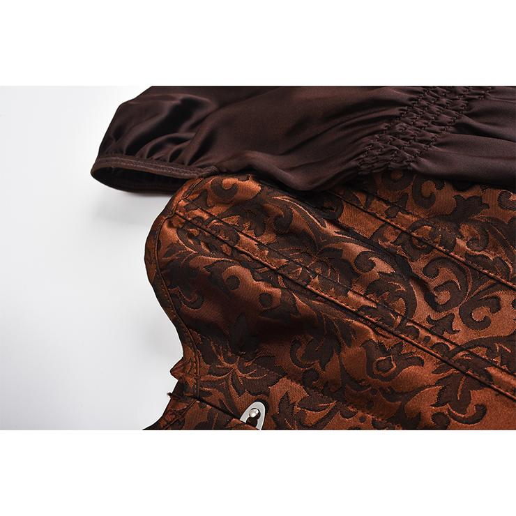 Steampunk Overbust Corset, Brocade Corset, Renaissance Corset Top, Black Gothic Corset, Vintage Corset for Women, Victorian Gothic Bodyshaper Wiast Cincher Overbust Corset, #N19576