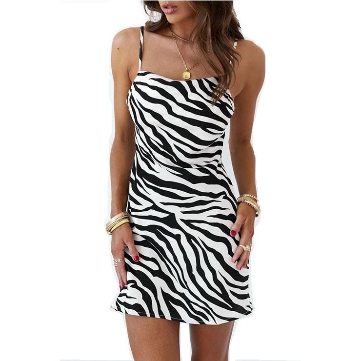 Fashion Leopard Print Halter Straps High Waist Casual A-line Summer Mini Dress N21100
