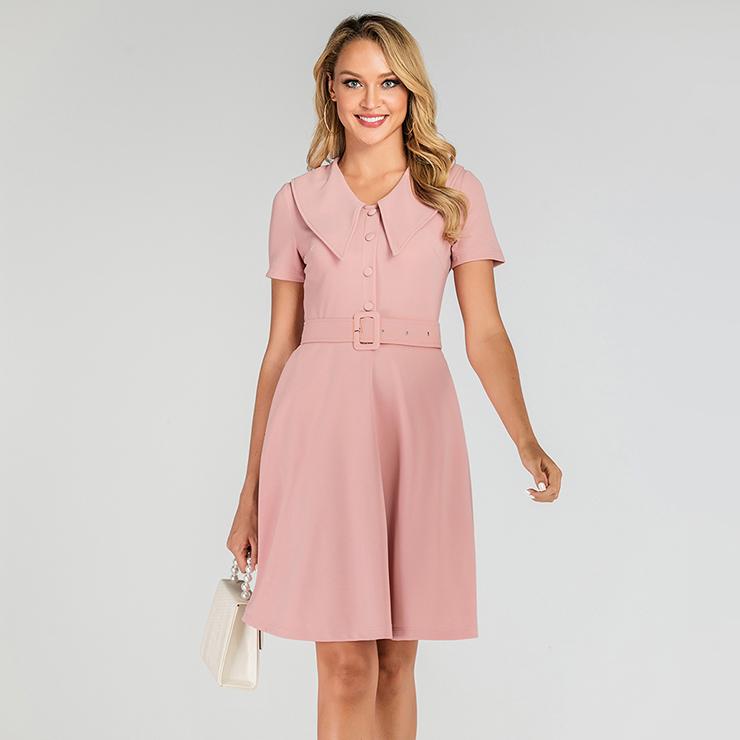 Vintage Light-pink Belted Lapel Short Sleeve OL High Waist Day Dress N19499