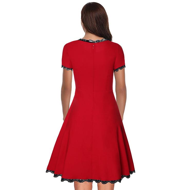 Elegant Swing Dress, Retro Lace Trim Dresses for Women 1960, Vintage Dresses 1950