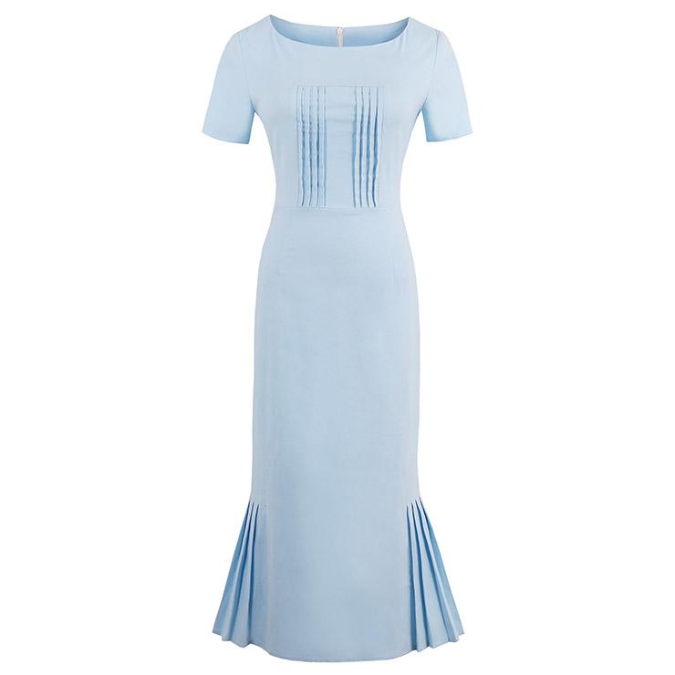 Women's Vintage Round Neck Short Sleeve Pleated Bodycon Dress N14523