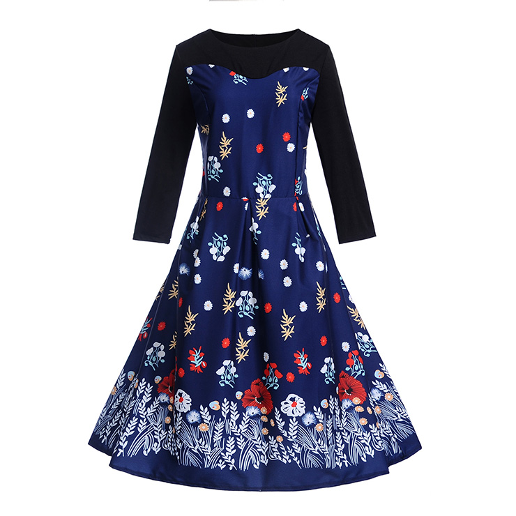 Vintage Round Neckline Flowers and Leaves Print Long Sleeves High Waist Evening Dress N18288