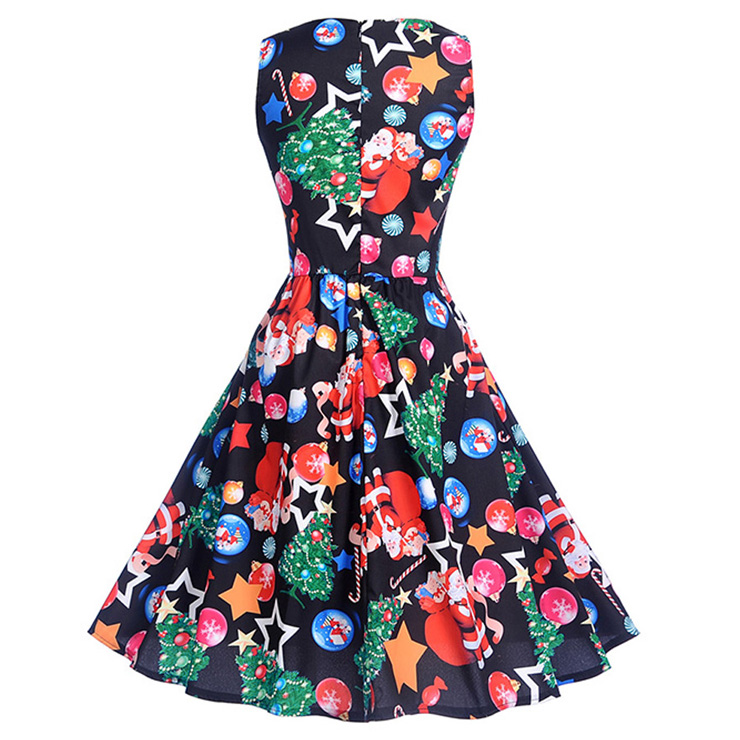 171eb0d5283d33 Black Vintage Round Neck Christmas Baubles Santa Claus Printed Sleeveless  High Waist Swing Dress N18282