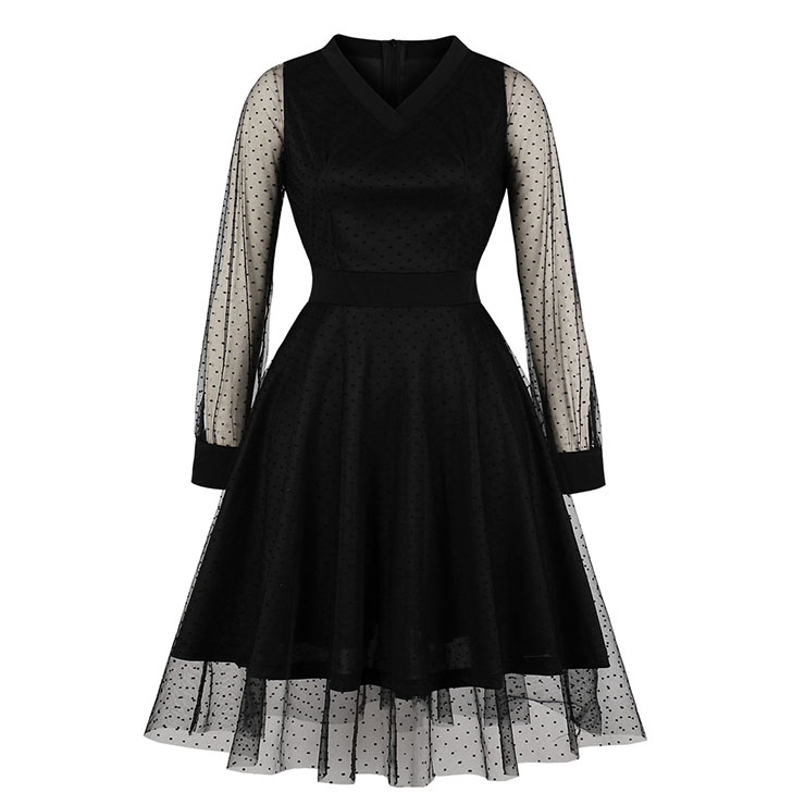 Sexy Black V Neck Sheer Mesh Overlay Long Sleeve High Waist Party Midi Dress N19802
