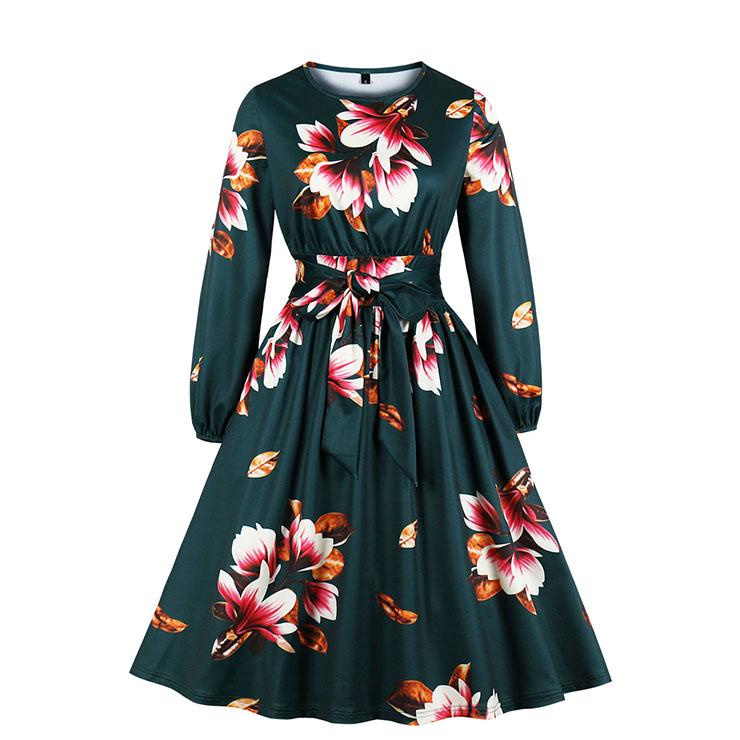 Fashion Kapok Print Round Neck Long Sleeve High Waist Midi Belt Dress N19807