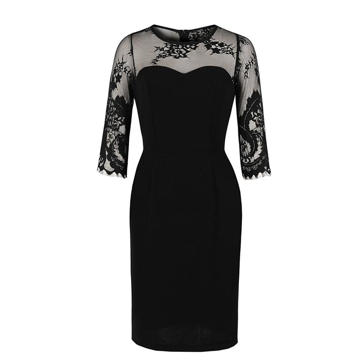 Sexy Black Sheer Floral Mesh Half Sleeve Spliced High Waist Party Midi Dress N19935