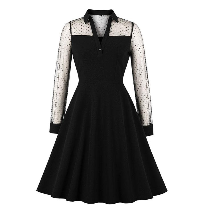 Sexy Gothic Black Sheer Mesh Spliced Long Sleeve Midi Dress N19558