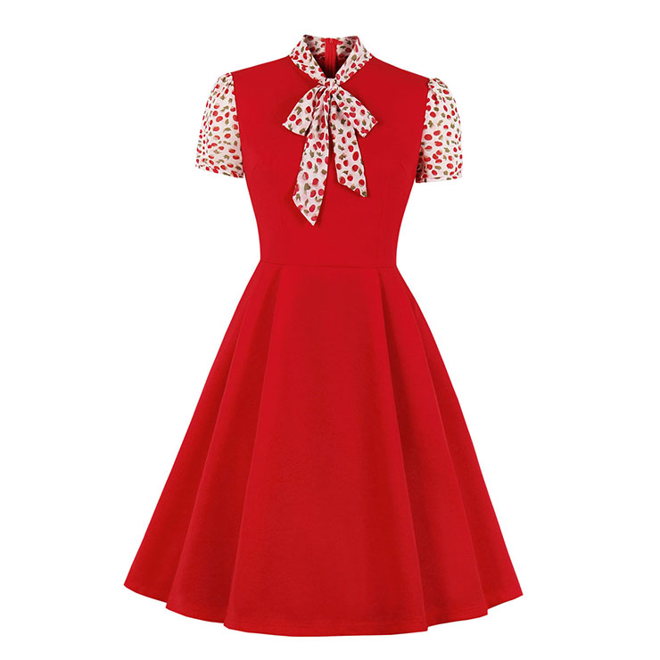 Vintage Tie Collar Short Sleeve Splicing High Waist Cocktail Party A-line Dress N20528
