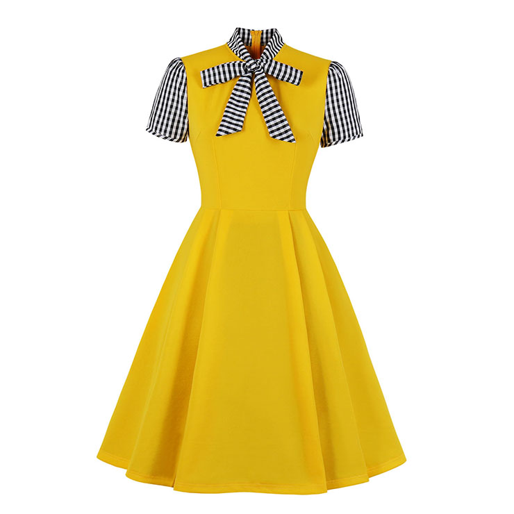 Vintage Tie Collar Short Sleeve Splicing High Waist Cocktail Party A-line Dress N20529