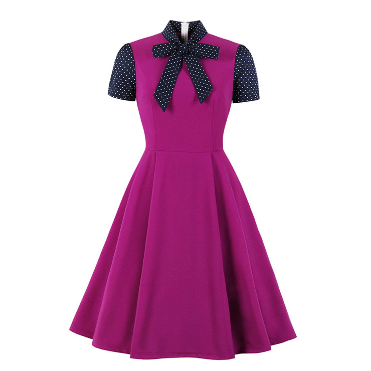 Vintage Tie Collar Short Sleeve Splicing High Waist Cocktail Party A-line Dress N20530