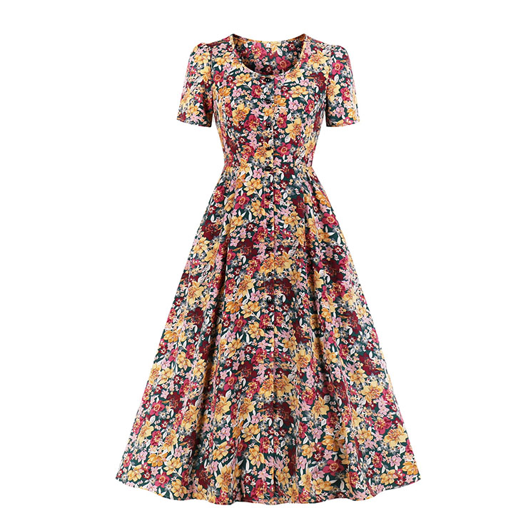 Vintage Floral Print Round Neck Short Sleeve Slim Waist Party Autumn Swing Maxi Dress N20836