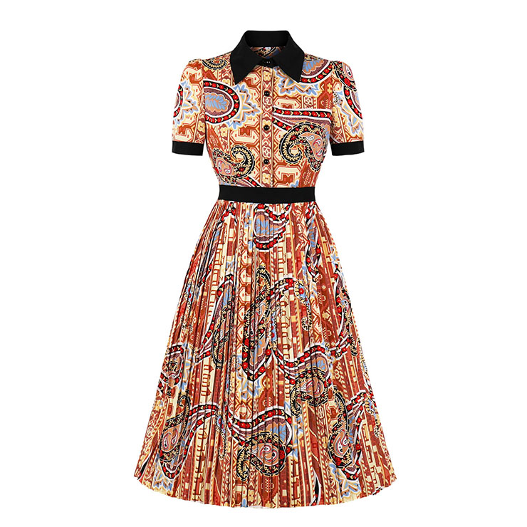 Vintage Printed Turn-down Collar Short Sleeve Cocktail Party Swing Pleated Dress N20829