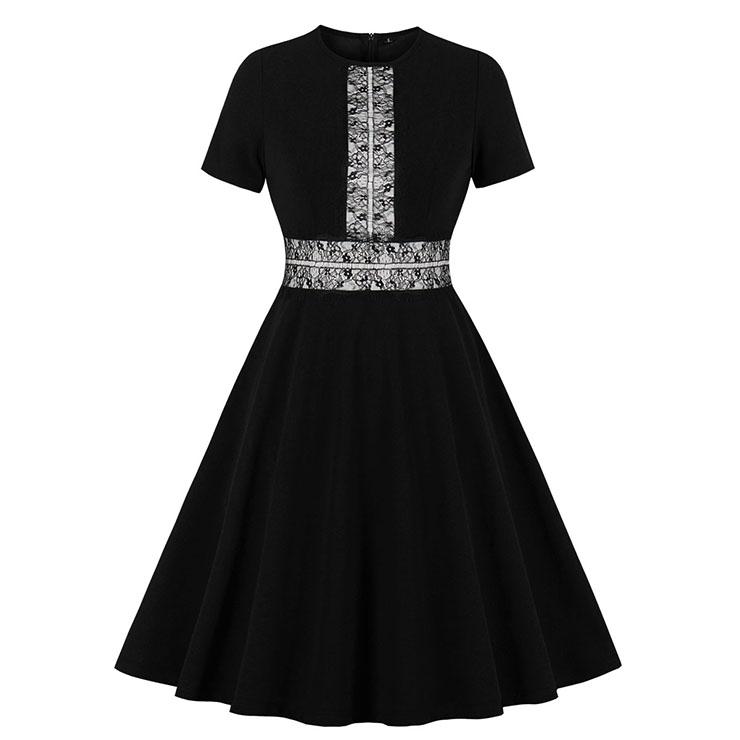Vintage Black Lace Stitching Round Neck Short Sleeve High Waist A-line Swing Dress N19929