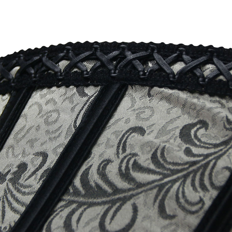 Victorian Gothic Corset for Women, Silver Jacquard Corset, Vintage Strapless Overbust Corset, Gothic Retro Overbust Corset for Women, #N16212