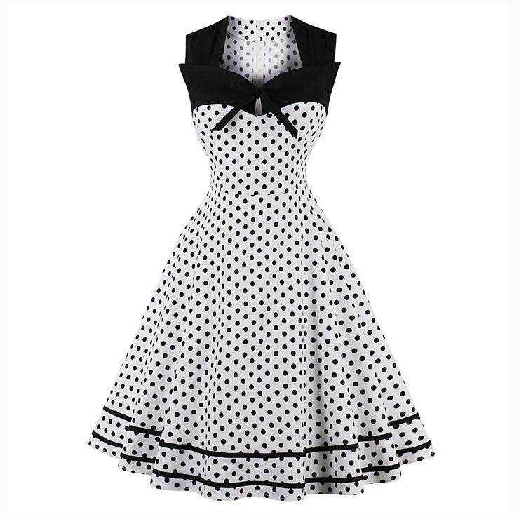 Women's Vintage Sleeveless Dot Print Plus Size Swing Dress N15505