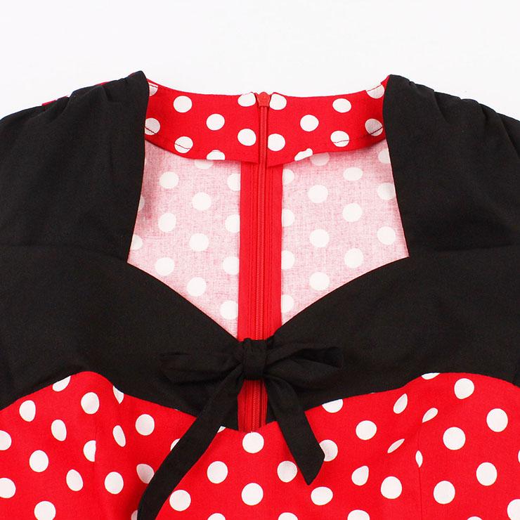 Sleeveless Dress, Sweetheart Neckline Dress, Plus Size Dress, Vintage Dress for Women, Midi Dress, Red Dot Print Dress, Elegant Dresses for Women, Back Zipper Dress Red, #N15581