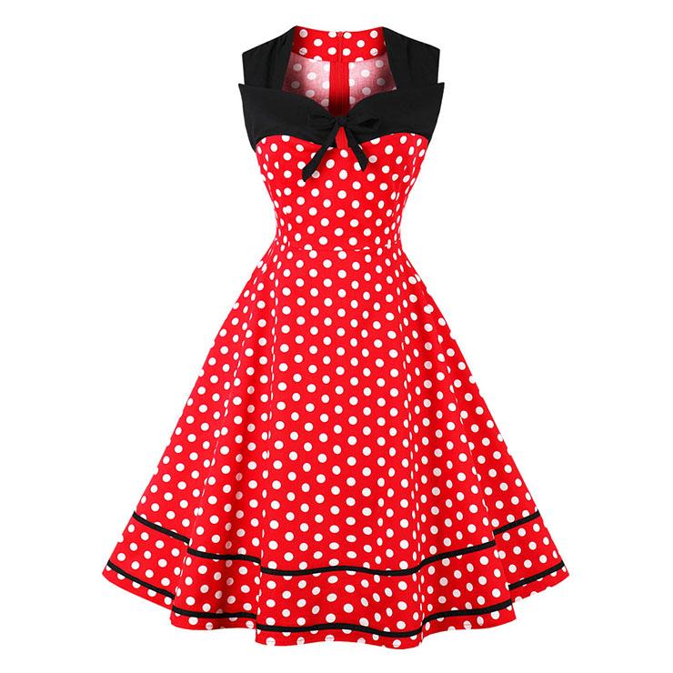 Women's Red Vintage Sleeveless Dot Print Plus Size Swing Dress N15581