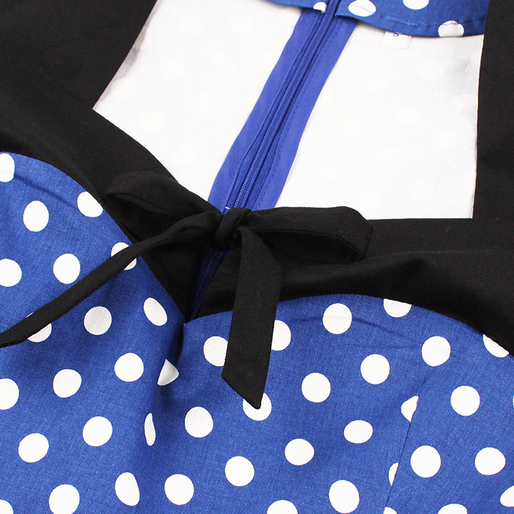 Sleeveless Dress, Sweetheart Neckline Dress, Plus Size Dress, Vintage Dress for Women, Midi Dress, Blue Dot Print Dress, Elegant Dresses for Women, Back Zipper Dress Blue, #N15582