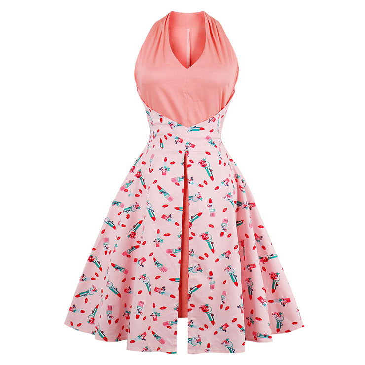 Women's Retro Summer Sleeveless Floral Print Swing Dress N13057
