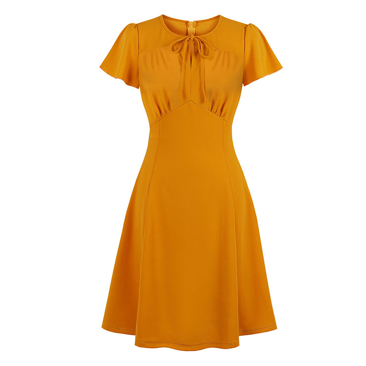 Retro Solid Color Round Neck Short Sleeve High Waist Midi Dress N19402