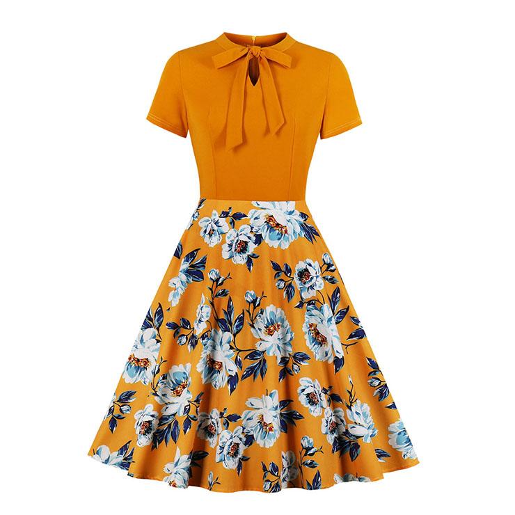 Retro Orange Floral Print Little Standing Collar Short Sleeve High Waist Midi Dress N19561