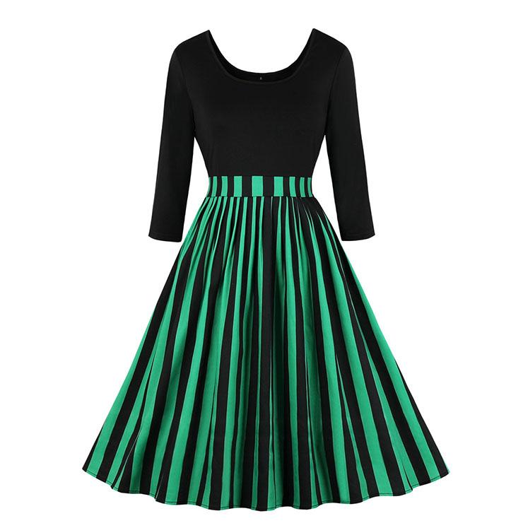 Vintage Black Round Neck 3/4 Sleeve Splice Stripes Print High Waist Swing Dress N20778