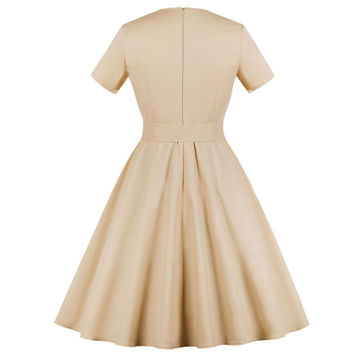 Retro Dresses for Women, Fashion Vintage Short Sleeve Dresses, Vintage Dress for Women Beige, Square Neck Pinup Vintage Dress, Cocktail Party Vintage Dress , #N17398