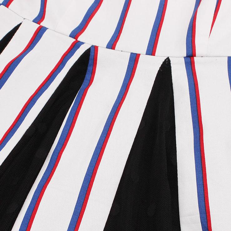 Retro Dresses for Women, Fashion Vintage Stripe Dresses, Vintage Dress for Women White, Square Neck Sleeveless Pinup Dress, Stripe Party Vintage Dress White, #N17228